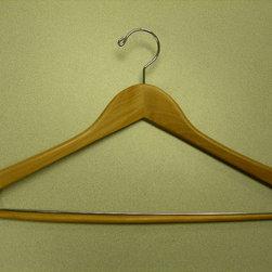 Proman Products - Gemini-Concave Suit Hanger With Lock Bar - Gemini-concave suit hanger with lock bar, 44.5Lx1.2Tcm, natural lacquer, chrome, 100pcs/case