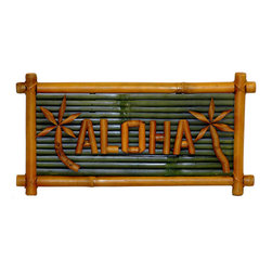 "Bamboo54 - Small Aloha Sign - Put a tropical greeting in your kitchen or living room with this bamboo wall sign. This island style accent piece measures 20"" long by 10"" high. It is made from bamboo, with a rustic frame and dark green background. Shaped bamboo pieces are used to form palm trees as well as the ""Aloha"" greeting. So whether you're saying ""Hello"" or ""Goodbye"", say it in bamboo with this Small Bamboo Aloha Sign. A must have for any tropical home. Hang it on your front door or on a patio. Manufacturer: Bamboo54. Brand: Bamboo54. Part Number: 5618"