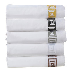 Bed Linens - Serena 3-Piece Duvet Cover Set, King, White/Black - This Serena Duvet Cover Set by Luxor Treasures is constructed of white 100% cotton. Each set features a greek key embroidered design of black, chocolate, gray, white, gold or light blue. Bring this simple classic look to any bedroom decor!