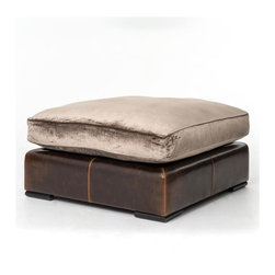 Four Hands - Aberdeen Ottoman - Further the luxury of your favorite setting with this opulent overstuffed ottoman. With a base of bicast leather and plush upholstery covered in lush, indulgent velvet, this piece is a study in pure style and absolute comfort.