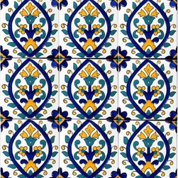 "Hand Painted 4"" x 4"" Decorative Ceramic Tiles - Beautiful hand painted decorative ceramic tile. Sevilla Design. Ceramic tiles are sold by the square foot, 9 tiles per square foot is 1 order. Tile size is 4 inch x 4 inch x 0.25 inch thick. Hand painted in Tunisia, a southern Mediterranean country. Tiles are fired twice between 500-600 degrees in a ceramic oven. Ceramic tiles are very colorful with a glossy finish. Easy set up and Heavy duty. For indoor and outdoor use. Ceramic tiles are scratch resistant, also water and fade resistant. Contact Seller for large order discounts and Custom tile work. Ref; CCP038"