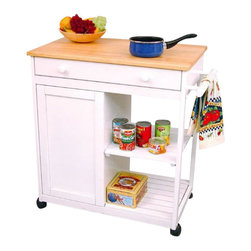 Catskill Craftsmen - Catskill Craftsmen Preston Hollow White Kitchen Cart with Butcher Block - Catskill Craftsmen - Kitchen Carts - 80030 - The Catskill Craftsmen Preston Hollow White Kitchen Cart adds convenience and beauty to your kitchen. The heavy duty locking casters provide great mobility and make this an easy addition to your kitchen. So cook up a storm with the Preston Hollow Kitchen Cart.
