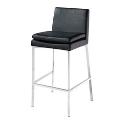 Nuevo Living - Dante Counter Stool, Set of 2, Black - Counter stools may have originated in bars and cafés, but that doesn't mean your room has to look like one. This luxury chair and counter stool in one gives you trendy counter height without sacrificing comfort or sophistication. You get plush foam padding, a backrest and swanky Italian leather upholstery on a sleek, brushed stainless steel frame. The seat even pivots, making it easy to move or turn.
