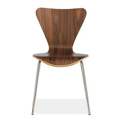 Jake Chair, Walnut - I'd warm up the look of a metal table with these wood veneer chairs. They're easy to clean and stackable, just in case you want to stash a few in the basement for extra guests.