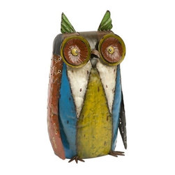 """IMAX - Oscar Metal Owl - The handcrafted metal sculptural owl features colorful finishes and a whimsical light hearted stature. Item Dimensions: (15.5""""h x 8.5""""w x 7"""")"""
