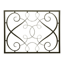 French Wall Panel - Airy scrolls and spidery loops add a sumptuous, almost sensual pattern to your wall when you mount the French Wall Panel - a two-dimensional ironwork display which is particularly valuable as a lighter, more visually unified alternative to a rectangular artwork. Equipped with keyholes so placed that it can hang in either direction, this rectangle of graceful metal blends well with traditional decor but adds a polished curve to transitional looks.
