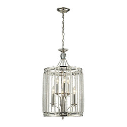 Elk Lighting - ELK Lighting  Aubree 8-Light Pendant - This collection offers highly polished K9 crystal beads and rectangle crystals that capture the light in an unimaginable array of sparkling beauty. The machined aluminum candle covers capture light while the Polished Nickel finish bounces the shimmering l