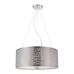 Lite Source - Pendant with Metal Shade - Bulbs not included. Requires three 60 watt incandescent A type bulb. UL and CUL listed. Socket type: E27. Polished steel body. Shade with liner and diffuser. Shade top: 20 in. Dia.. Shade bottom: 20 in. Dia.. Shade height: 8 in.. Overall: 20 in. Dia. x 67 in. H (15 lbs.). Assembly Instruction