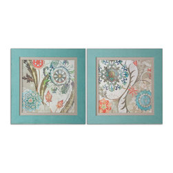 Uttermost - Royal Tapestry Framed Art, Set of 2 - A fantastical floral pattern in lightened-up brights brings a lively feel to your decor. These pretty prints get added interest from their turquoise linen-wrapped frames.