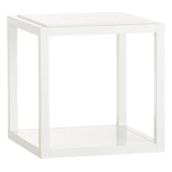 Ditto White Cube - Versatility, cubed. Pull up one for a side table, cluster two or more for a coffee table, or stack up to four high for a storage tower. Or mix it up for a custom wall unit. Lightweight unit has solid poplar frame and birch veneer and engineered wood shelves.
