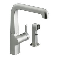 KOHLER - KOHLER K-6334-VS Evoke Single Control Kitchen Sink Faucet with Sidespray in Stai - KOHLER K-6334-VS Evoke Single Control Kitchen Sink Faucet with Sidespray in Stainless SteelEvoke Kitchen faucets deliver a fresh, streamlined appeal to today's kitchens, creating a sense of charm and warmth so often lost in contemporary design. The single control design of Evoke remains intuitive to use and minimal in its form, creating a clean, uncluttered aesthetic. Evoke features an innovative two function sidespray with spray and laminar flow output for a level of performance previously only available with a pullout or pulldown faucet. Available in two spout sizes for primary and secondary sink applications. KOHLER K-6334-VS Evoke Single Control Kitchen Sink Faucet with Sidespray in Stainless Steel, Features:• Streamline contemporary aesthetics creates a distinctive statement and makes clean-up and maintenance simple and quick