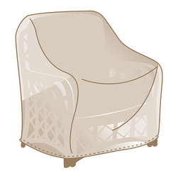 Frontgate - Outdoor Lounge Chair Cover - Made of heavy-duty, 600 denier polyester. Lined with a layer of waterproof PVC. Soft fleece underside protects aluminum frames. 500 hour UV tested. Won't fade in the hottest sun, or crack in temperatures dropping to 0°F. We've re-engineered our best-selling premium furniture covers to provide an unparalleled level of protection for your outdoor furnishings. Designed with meticulous detail, these durable three-ply covers boast 600-denier polyester outer shell and a layer of waterproof PVC to ensure superior performance and long-lasting functionality in searing sun, blinding rain, prodigious snow, and bitter cold. Find the right cover with our Furniture Matching Guide .  .   Won't fade in the hottest sun, or crack in temperatures dropping to 0 degreesF. Double-stitched seams (6 stitches per inch). Elastic edging, drawstrings, or reinforced ties hold covers securely in place. Built-in mesh vents with protective flaps help circulate air and keep water and mildew from reaching inside. Deep seating and chaise covers include an embroidered Frontgate logo . Learn how to measure your furniture with our Measuring Guide to ensure a proper fit. Easy to care for. Imported.