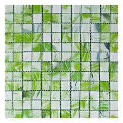 Green Brushstroke Glass Mosaic Tile - SOLD BY BOX