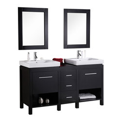 "Design Element - New York 60"" Double Sink Vanity Set in Espresso - Open storage cabinet space and large drawers - the versatile 60"" New York vanity set has it all. With straight lines porcelain drop-in sinks and high visual contrast the New York will stand out in any modern bathroom setting. This vanity set includes a quality wood cabinet in espresso two porcelain sinks with chrome pop-up drains and two matching mirrors."