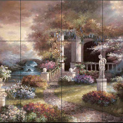 The Tile Mural Store (USA) - Tile Mural - Jl - Enter The Light - Kitchen Backsplash Ideas - This beautiful artwork by James Lee has been digitally reproduced for tiles and depicts a garden scene filled with colorful flowers.  This garden tile mural would be perfect as part of your kitchen backsplash tile project or your tub and shower surround bathroom tile project. Garden images on tiles add a unique element to your tiling project and are a great kitchen backsplash idea. Use a garden scene tile mural for a wall tile project in any room in your home where you want to add interesting wall tile.
