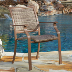 Panama Jack - Panama Jack Island Cove Woven Stackable Dining Chair - PJO-8001-ESP-WA - Shop for Dining Chairs from Hayneedle.com! For an outdoor chair the Panama Jack Island Cove Woven Stackable Dining Chair is a big comfy leap forward in outdoor furniture. Using an innovative resin wicker called Viro and taking cues from their line of outdoor sling chairs Panama Jack has made a slim and simple outdoor chair that combines comfort with style and throws in more than a dash of durability. The frame is made from rust-proof aluminum with a pleasant espresso finish that complements the hue of the Viro resin wicker. Resin wicker looks and feels like traditional wicker but the synthetic nature of this material gives it superior resistance to rot fading and cracking. The tightly pulled sling-type seat and back offers support and comfort while eliminating the need for cushions. When you're done enjoying these chairs they can be easily stacked for off-season storage.About Hospitality RattanHospitality Rattan has been a leading manufacturer and distributor of contract quality rattan wicker and bamboo furnishings since 2000. The company's product lines have become dominant in the Casual Rattan Wicker and Outdoor Markets because of their quality construction variety and attractive design. Designed for buyers who appreciate upscale furniture with a tropical feel Hospitality Rattan offers a range of indoor and outdoor collections featuring all-aluminum frames woven with Viro or Rehau synthetic wicker fiber that will not fade or crack when subjected to the elements. Hospitality Rattan furniture is manufactured to hospitality specifications and quality standards which exceed the standards for residential use.Hospitality Rattan's Environmental Commitment Hospitality Rattan is continually looking for ways to limit their impact on the environment and is always trying to use the most environmentally friendly manufacturing techniques and materials possible. The company manufactures the hi