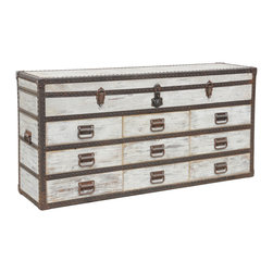 Kosas Collections - Vennie Chateau Sideboard - Take a step back in time with this antique steamer trunk inspired sideboard. This versatile piece is hand constructed of reclaimed pine with rustic hardware and a vintage white wash finish for the perfect addition to any room.