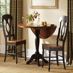 Liberty Furniture Low Country Black 3 pc. Drop Leaf Table Set with Napoleon Chai - You needn't be as short as Napoleon to appreciate the down-to-earth elegance and traditional European style of the Liberty Furniture Low Country Black 3 pc. Drop Leaf Table Set with Napoleon Chairs. Designed for small dining rooms and cozy nooks, this space-saving set offers superior craftsmanship at an affordable price, with select hardwood solid and cherry veneer construction backed by a one-year limited manufacturer's warranty.Though traditional in inspiration, this three-piece set holds strong contemporary appeal for today's lifestyles and decorative tastes. Its contrast finish of anchor black and suntan bronze exudes modern elegance, enriched with classic woodworking details such as cutout splats and a turned pedestal table base. The round, multi-purpose table is built with two 11-inch drop leaves, making it easy to store or position against a wall. Seating up to four, this charming set presents limitless decorative and functional possibilities for today's dining interiors.About Liberty FurnitureEstablished in 1993, Liberty Furniture Industries, Inc. had seven employees and manufactured wood chairs and laminate table tops in a modest section of a warehouse in west Atlanta. Over the years, its scope has widened to include formal and casual dining furniture, accent furniture, and bedroom furniture. It now operates out of three main facilities in Atlanta, one brand-new facility in Chicago, and its first Asian office. As Liberty continues to grow, it searches for more ways to expand and offer more of what its customers want. Liberty is now one of the premier leaders in manufacturing and delivering quality furniture at exceptional value. Through its growth, it has remained a strong, family-oriented business that never compromises its values of dedicated customer service, a relentless pursuit of quality, and a devotion to enriching lives of its employees, its customers, and its community.