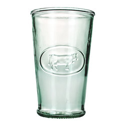 Global Amici - Milk Glass (Set of 6) - These milk glasses from Global Amici are produced using recycled,green glass. Each glass has a motif of a cow on the glass making them great for any occasion.