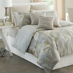 None - Modern Living Caravan Tan Ikat Pattern 4-piece Comforter Set - The Modern Living Caravan Comforter Set features an Ikat print for a soothing finish to your bedroom.  The 100% cotton,300 thread-count sateen set comes in a natural color palette of taupe,cream and tan with a metallic texture to add additional sheen.