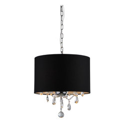Warehouse of Tiffany - Brim 3-light Crystal Chandelier - Illuminate your home with this elegant, black crystal chandelier. This dynamic lighting fixture is simple, yet beautiful and would be a perfect addition to your home. Setting: IndoorsFixture finish: ChromeMaterials: CrystalNumber of lights: Three (3)Requires : Three (3) 60 watt bulbs (not included)Shade dimensions: 15 inches high x 15 inches wide x 10 inches longThis fixture does need to be hard wired. Professional installation is recommended.CSA Listed, ETL Listed, UL Listed