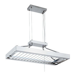 Lithonia Lighting 116PRL 6 Light Contemporary Pot Pan Rack - Well designed pot rack for a modern space. Rack also functions as a stemmed glass holder, which is very useful. Lights very useful for task lighting on an island and can function as uplighting as well.