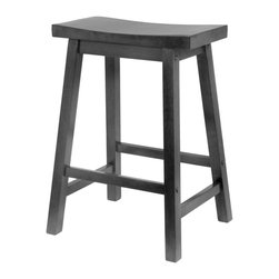 "Winsome Trading - Winsome 24 Saddle Seat Bar Stool, Black (20084) - Winsome 20084 24"" Saddle Seat Bar Stool, Black"