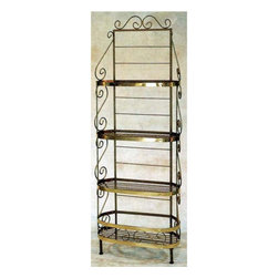 """Grace Manufacturing - 30 Inch Oval French Bow Style Bakers Rack With Wire Shelves & Brass Tips, Aged I - Dimensions: 32""""wide x 15"""" x 83"""" Tall"""