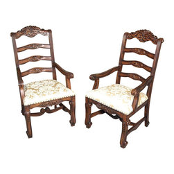 MBW Furniture - Walnut William & Mary Gold Brocade Arm Chairs (2) - Solid Mahogany