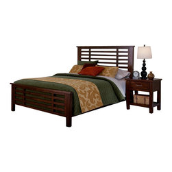 Home Styles - Home Styles Cabin Creek Bed and Night Stand in Chestnut-Queen - Home Styles - Bedroom Sets - 54105018 - Our Cabin Creek collection conveys a reclaimed wood vintage feel.  Each piece is physically distressed by hand providing a unique one of a kind look.  The Cabin Creek Bed and Night Stand by Home Styles are constructed of mahogany solids and veneers in a multi-step chestnut finish.
