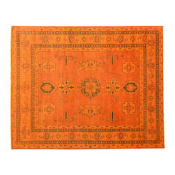 Kazak Orange Overdyed Hand Knotted 8'x10' 100% Wool Oriental Rug SH15074 - This collections consists of well known classical southwestern designs like Kazaks, Serapis, Herizs, Mamluks, Kilims, and Bokaras. These tribal motifs are very popular down in the South and especially out west.