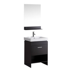 """Belvedere - Belvedere 24"""" Modern Single Sink Bathroom Vanity With Chrome Faucet - Specifications:"""