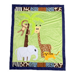 "Jazzie Jungle Boy - Medium Quilt - Coordinating quilt is most ""adventurous"" using all the animals in this jungle appliqu�d on the front of the quilt with green soft minky behind.  Quilt is framed using all the cotton print main animal prints.  Back is green minky to match front. Entire quilt is trimmed in navy cotton fabric.  A quilt to grow with for many years to come!"