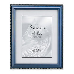 Lawrence Frames - Blue Wood 4x6 Picture Frame - Gold Bead Design - High quality classic blue wood frame with delicate gold beading along outside edge.  Side panels of this frame have a black painted satin finish.  High quality black velvet backing including an easel for vertical or horizontal table top display and hangers for wall mounting.  Comes individually boxed.
