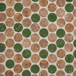 """Habitus Cork Mosaic Tile Color Mix - Habitus Cork Mosaic """"Penny"""" Tile Color Mix shown in Natural Cork & Green Tea. Introduced in 2014 by The Habitus Collection."""
