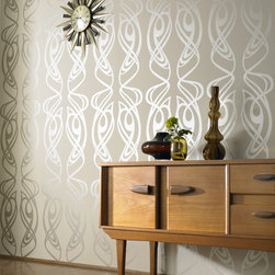 Diva Wallpaper, Beige - I adore the organic, sinewy forms of art nouveau design. In contrasting colors, this pattern could easily be overwhelming, but with a shimmering tone-on-tone, it becomes a subtle and elegant background.