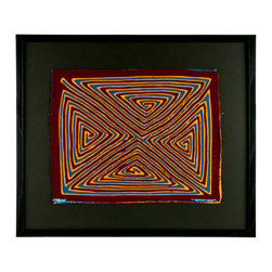 "Salvatecture Studio - Vintage Framed Panama Kuna Mola ""Triangle Maze"" Wall Art - You'll be a-maze-d at the intricacies of this pvintage mola — a reverse appliqué technique that can incorporate up to seven layers of fabric that have been cut and stitched together. The geometric design in bold yellow, red and blue is set against a black mat board that's certain to draw attention to any wall space in your home."