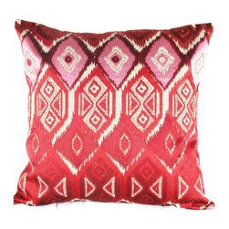 Design Accents - Design Accents Ikat Embroidered Pillow - 20L x 20W in. - KSS-TI-0041-RED - Shop for Pillows from Hayneedle.com! Whether your style is traditional or contemporary the Design Accents Ikat Embroidered Pillow - 20L x 20W in. is sure to look perfect in your home. Made of soft durable cotton this modern pillow features hand-embroidered ikat accents. It's available in various colors so you can get the look to match your style perfectly. Removable cover is zippered for your convenience.