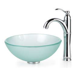"""Kraus - Kraus C-GV-101FR-14-12mm-1005CH Frosted 14"""" Glass Vessel Sink and Riviera Faucet - Add a touch of elegance to your bathroom with a glass sink combo from Kraus"""