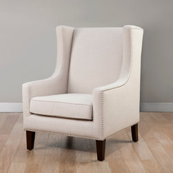 None - Biltmore Wing Lindy Chair - Add a modern touch to your home decor with this stylish cream chair. A lovely cream upholstery and espresso finish highlight this classic chair.