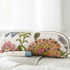 "Gwyneth Palampore Brush Case, Multi - Lush palm fronds and bright blooms take on a plush look when printed on quilted cotton. With a design drawn from a 19th-century artwork, this case keeps your brushes and combs corralled in style. 8.5"" long x 2.5"" wide x 2.75"" high Exterior is made of 100% quilted cotton. Interior is lined with Marlo Print cotton and coated with leakproof polyurethane. Zipper closure. Imported. Monogramming is available at an additional charge. Monogram is 2"" and will be centered on one side of the case."