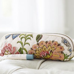 """Gwyneth Palampore Brush Case, Multi - Lush palm fronds and bright blooms take on a plush look when printed on quilted cotton. With a design drawn from a 19th-century artwork, this case keeps your brushes and combs corralled in style. 8.5"""" long x 2.5"""" wide x 2.75"""" high Exterior is made of 100% quilted cotton. Interior is lined with Marlo Print cotton and coated with leakproof polyurethane. Zipper closure. Imported. Monogramming is available at an additional charge. Monogram is 2"""" and will be centered on one side of the case."""