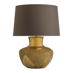 "Arteriors - Arteriors Oromaya Lamp - The Arteriors Oromaya lamp strikes the style chord with bold intention. Beneath a brown shade, the golden base pairs textured triangles with smooth surfaces in compelling allure. Designed by Laura Kirar; Solid antiqued brass; Accepts 150W max bulb (not included); 19"" Diameter x 25.5""H; Cord: 8'L"