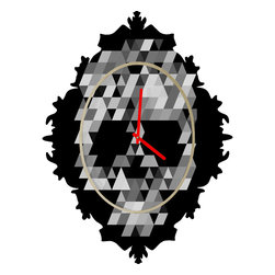 DENY Designs - Deniz Ercelebi Skull BW B Baroque Clock - It's about time to check out the baroque clock collection! With a sleek mix of baltic birch ply trim that's unique to each piece and a glossy aluminum face, this baroque clock is gonna turn up the fancy on that plain Jane wall of yours.