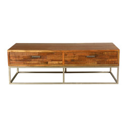 Sierra Living Concepts - Rustic Wood & Industrial Iron 4-Drawer Coffee Table - It's easy to keep things neat and modern with our Rustic 4 Drawer Island Coffee Table. This innovative storage system and table is built with solid mango wood, a tropical hardwood grown as a sustainable crop.