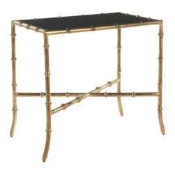 Safavieh Hidden Treasures Black Granite Gold Accent Table - A chic cocktail table with gorgeous bamboo legs is great in a small room. Its light feel will create space.