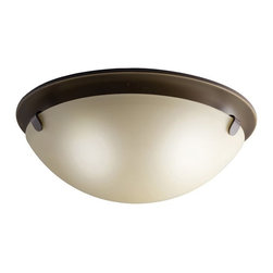 KICHLER - KICHLER Transitional Flush Mount Ceiling Light X-ZO3007 - Warm finishes give a traditional touch to this Kichler Lighting flush mount ceiling light. The soft curves are complimented by the satin etched glass and coordinating warm Olde Bronze finish.