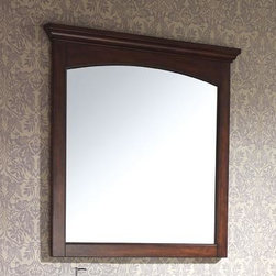 "Avanity - Vermont Mirror - 36"" Mahogany - 36W x 38H inches; Birch solid wood in Mahogany finish; Beveled mirror; Wood cleat at back for easy hanging"
