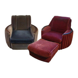 """Pre-owned Vintage1930's Nemmer Art Deco Club Chairs - A Pair - This is an amazing pair of barrel shaped, ribbed club chairs and ottoman made by the Nemmer Furniture Company of Buffalo, N.Y. in the 1930's. Though a matching set from the same suite, each chair is slightly different in the upholstery details with piping and pleating. These chairs are the ultimate in Art Deco pieces!    Both chairs still have the identifying Nemmer brass tag on their backs signifying that the mohair fabric is original (though not in the best shape). The fabric is faded and has wear. The construction on these chairs is still excellent. They are solid and heavy. """"Every Suite has Nemmer's exclusive patent metal bottom. No webbing - no slats. This bottom will last a lifetime."""" Nemmer's wasn't lying - these chairs are of a solid, sturdy construction. Each chair has a wood embellishment on each arm and sits on 4 grooved wooden feet. Overall, these chairs are in excellent internal and external structural condition - the ribbing, wood sections and detailed upholstery piping and pleating is still incredible.    Red Chair:  40"""" W x 37"""" D x 35"""" H    Ottoman:  25"""" W x 24"""" D x 13"""" H    Blue Chair:  40"""" W x 37"""" D x 34"""" H"""