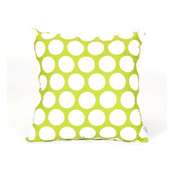 Indoor Hot Green Large Polka Dot Large Pillow